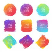 Hand-drawn watercolor brush strokes set of different shapes and colors isolated on a white background Watercolor vector background Vector Illustration