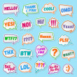 Постер, плакат: Stickers of speech bubbles color set with shadows isolated on blue background Acronyms and abbreviations Vector Illustration