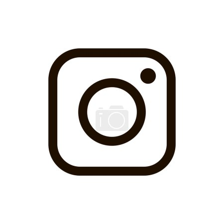 New instagram logo black color isolated on white background for your social media app design project. Vector social network icon. Vector Illustration