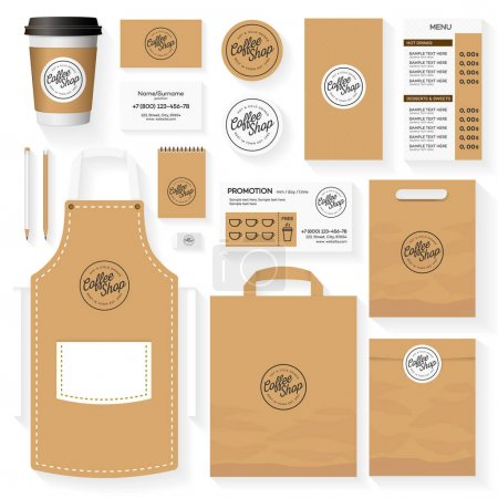 Coffee shop corporate identity template design set with coffee shop logo. Restaurant cafe set card, flyer, menu, package, uniform design set. Stock vector