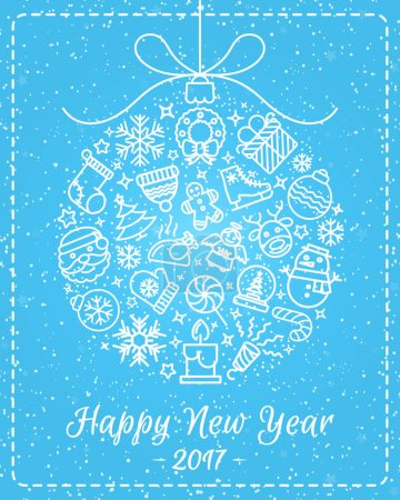 Christmas greeting card with christmas ball consisting of christmas line icons and wish have a Happy New Year on snow holiday background. Merry Christmas. Christmas decoration element