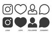 Set of instagram icon black color isolated on white background