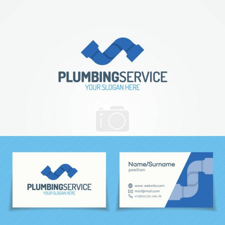 Plumbing service logo set with pipe