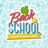 Welcome back to school background with apple and ribbon with an inscription Happy School Year on seamless pattern of school supplies Back to school shopping Super sale Vector illustration