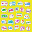 Постер, плакат: Stickers of speech bubbles color set with shadows Acronyms and abbreviations Vector Illustration