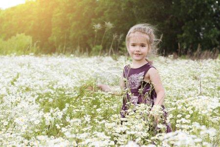 Photo pour Mignonne petite fille belle robe danse entre champ de camomille, beauté et mode, enfance heureuse, vacances d'été en plein air - image libre de droit