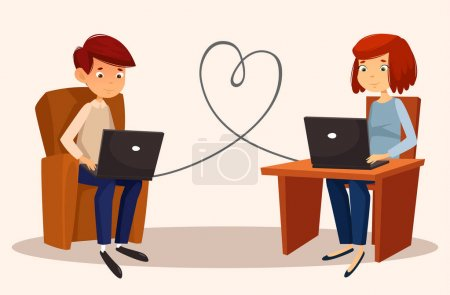 couple chating using laptops