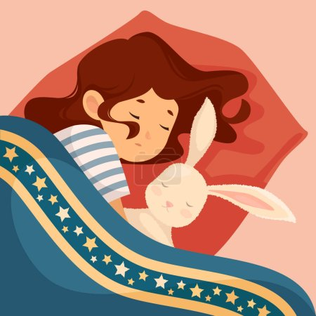 girl sleeping with bunny