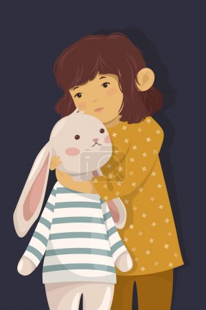 Illustration for Girl with bunny toy vector illustration - Royalty Free Image