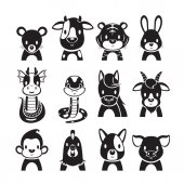 12 Animals Chinese Zodiac Signs Icons Set Monochrome