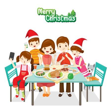 glückliche Familie beim gemeinsamen Essen