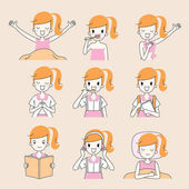 The Daily Routines Of Girl Outline