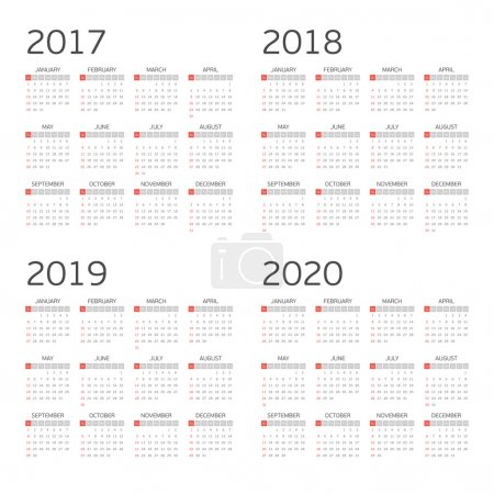 Calendar for four years.