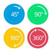Angle degrees circle icons set