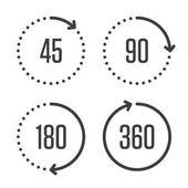 Angle degrees circle icons