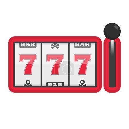 Illustration pour Machine à sous avec pot chanceux de sept. Concept de succès dans le jeu. Casino Machines illustration vectorielle. 777 machines à sous élément de jeu. SPE 10 . - image libre de droit