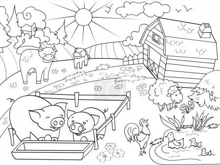 Photo pour Animaux de ferme et paysage rural Coloriages pour illustration raster adultes. Anti stress pour vache adulte, les porcs, les oiseaux, bâtiment. Ciel de Zentangle de style. Noir et blanc lignes Ecoute soleil nature motif dentelle - image libre de droit