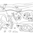 Wetland landscape with animals coloring book for a...