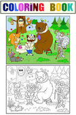 Veterinarian treats animals in the forest vector illustration Coloring book educational game for kids educational game Nature doctor