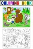 Veterinarian treats animals in the forest vector illustration