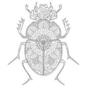 Anti-stress coloring book vector Egyptian Scarab beetle