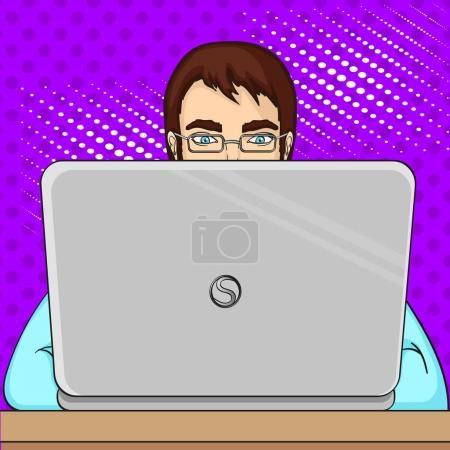 Illustration pour Un programmeur masculin travaille pour les ordinateurs portables. Personnel informatique à l'ordinateur. Illustration vectorielle du pop art. Imitation du confort du style . - image libre de droit