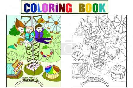 Illustration pour Tour tour, plus grande attraction de divertissement. Livre couleur pour enfants sur un parc d'attractions, lignes noires de dessin animé sur fond blanc. Coloriage, noir et blanc - image libre de droit