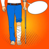 Pop art men legs in plaster cane and support Rehabilitation means Vector imitation comic style Text bubble