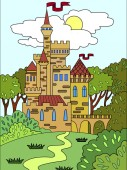 Childs colored picture Castle in the forest The building is made of bricks in more often Fifteenth century Illustration for a book