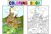 Childs colored picture Castle in the forest The building is made of bricks in more often Coloring for children Black lines color