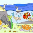 Wetland landscape with animals color book for adul...