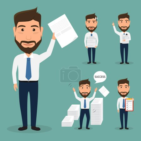 Illustration for Set of business man character at office work. people character. - Royalty Free Image