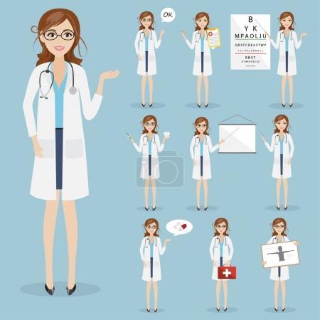 Illustration pour Ensemble de femme médecin caractère soins de santé à l'hôpital - image libre de droit