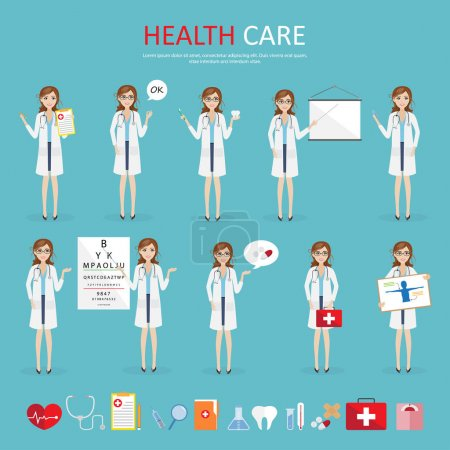 set of woman doctor character health care at hospital