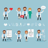 set of doctor character at hospital health care hospital icon