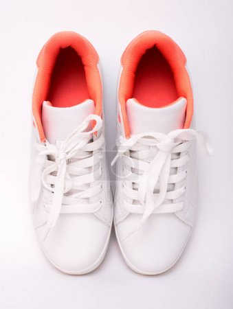 Photo for Pair of white sneakers isolated on white background. Sport shoes - Royalty Free Image