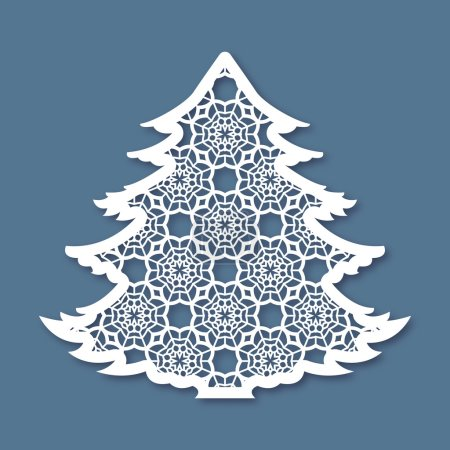 Christmas tree with geometric pattern. Laser Cutting template