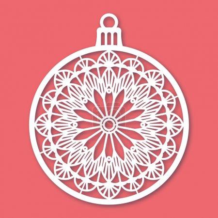 Illustration pour Boule de Noël avec flocon de neige. Modèle de découpe laser pour cartes de vœux, enveloppes, invitations, éléments intérieurs. Panneau décoratif de découpage de papier vectoriel de Noël. Carte découpée . - image libre de droit