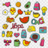 Set of Fashion patch badges with cute elements - hearts camera