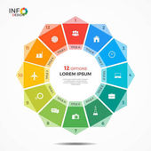 Infographic template with 12 options circle chart