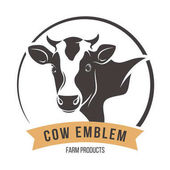 Cow head silhouette emblem label Vector illustration