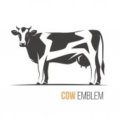 Vector illustration of a stylish spotted holstein cow