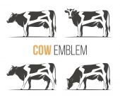 Vector set of a stylish spotted holstein cows