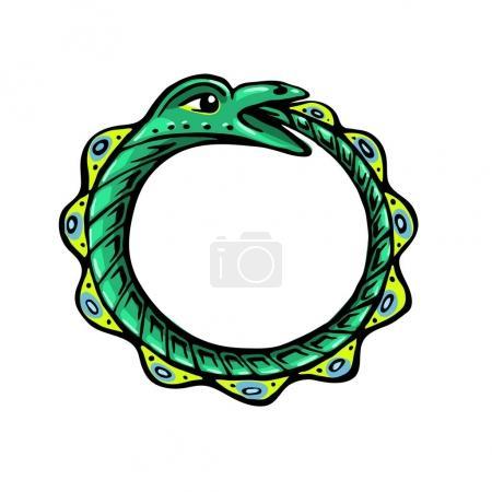 Illustration pour Uroboros. Le serpent vert mange sa propre queue. Éternité ou infinité Symbole magique. Mythologie et serpents, illustration vectorielle stylisée . - image libre de droit