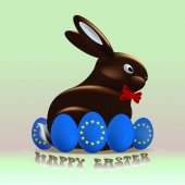 Chocolate Easter rabbit surrounded by eggs blue with the flag of the European Union