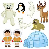 set of isolated  animals and people in the Arctic