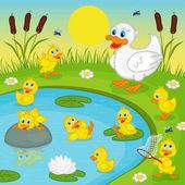"""Постер, картина, фотообои """"Утята с матерью утка, играя в озере"""""""