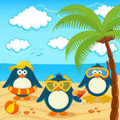 penguins rest on a sunny beach under a palm tree