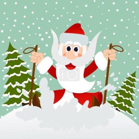 Santa rushes to skis through the woods
