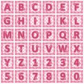 alphabet  pink letters